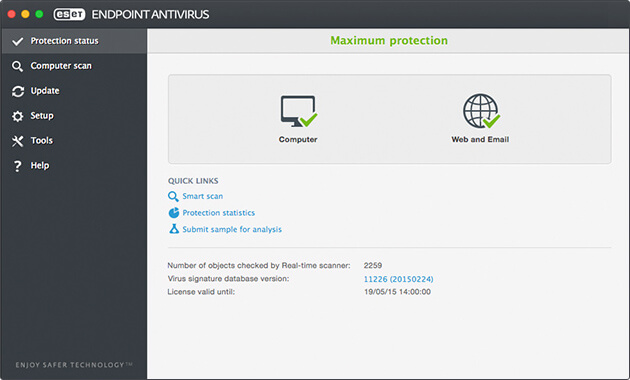 ESET Endpoint Antivirus for OS X - Protection Status
