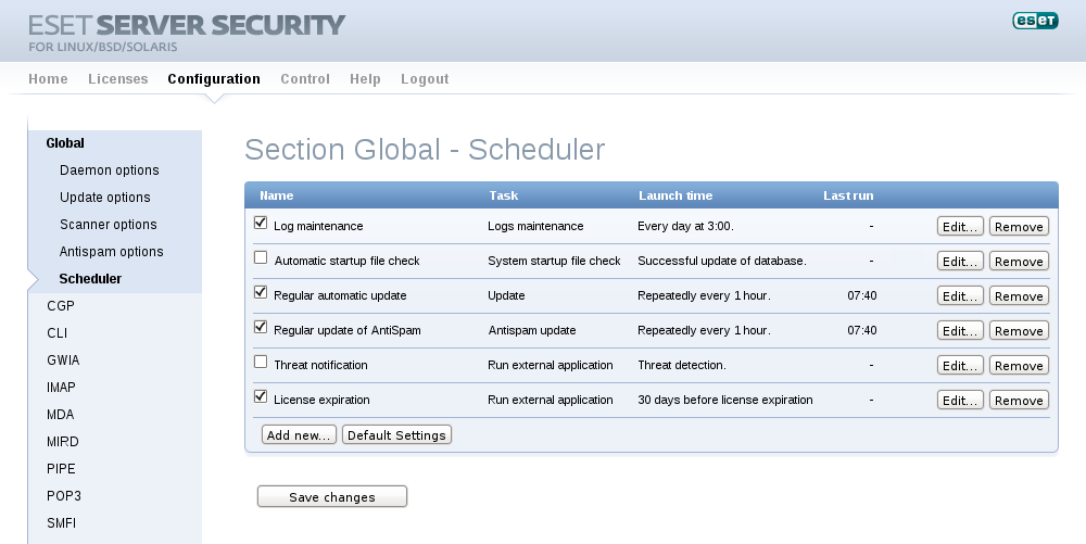 Configuration - Section Global - Scheduler