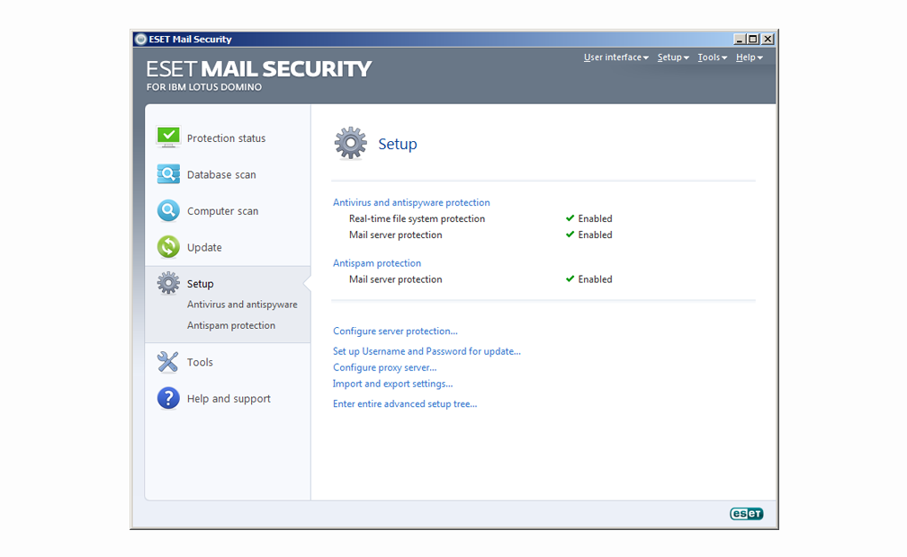 ESET Mail Security for IBM Lotus Domino - Setup