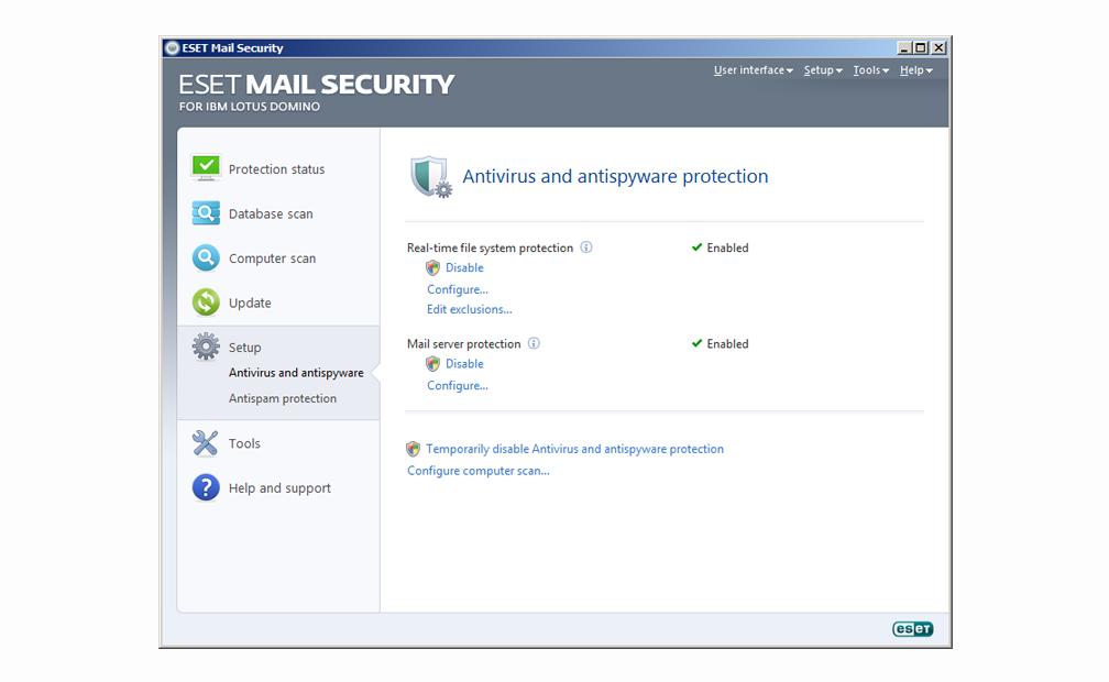 ESET Mail Security for IBM Lotus Domino - Setup - Antivirus and antispyware protection
