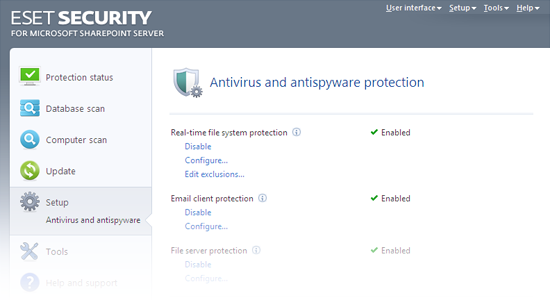ESET Security for Microsoft SharePoint - Antivirus and antispyware