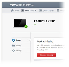 ESET Anti-Theft portal screenshot
