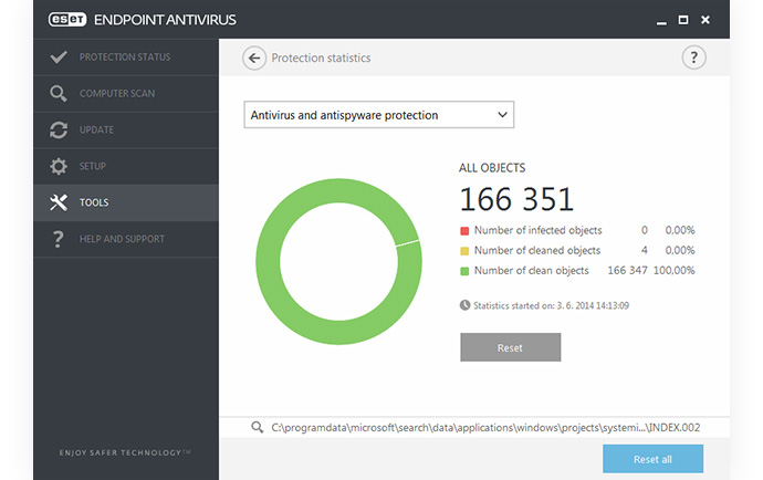 ESET Endpoint Antivirus - Tools - Protection Statistics