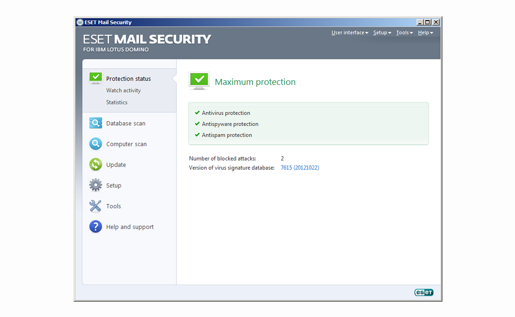 ESET Mail Security for IBM Lotus Domino - Protection status