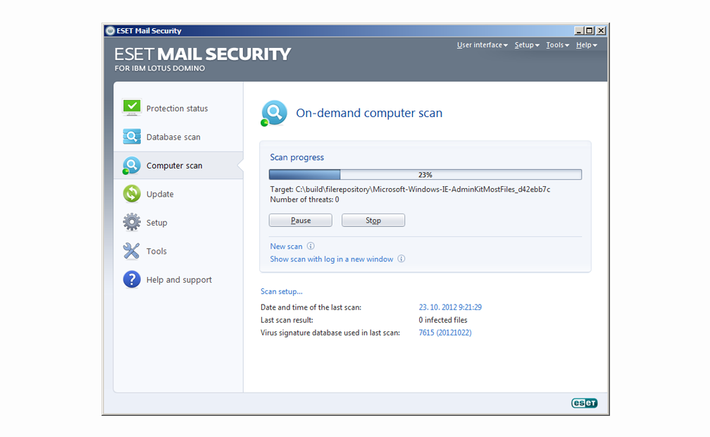 ESET Mail Security for IBM Lotus Domino - On-demand computer scan